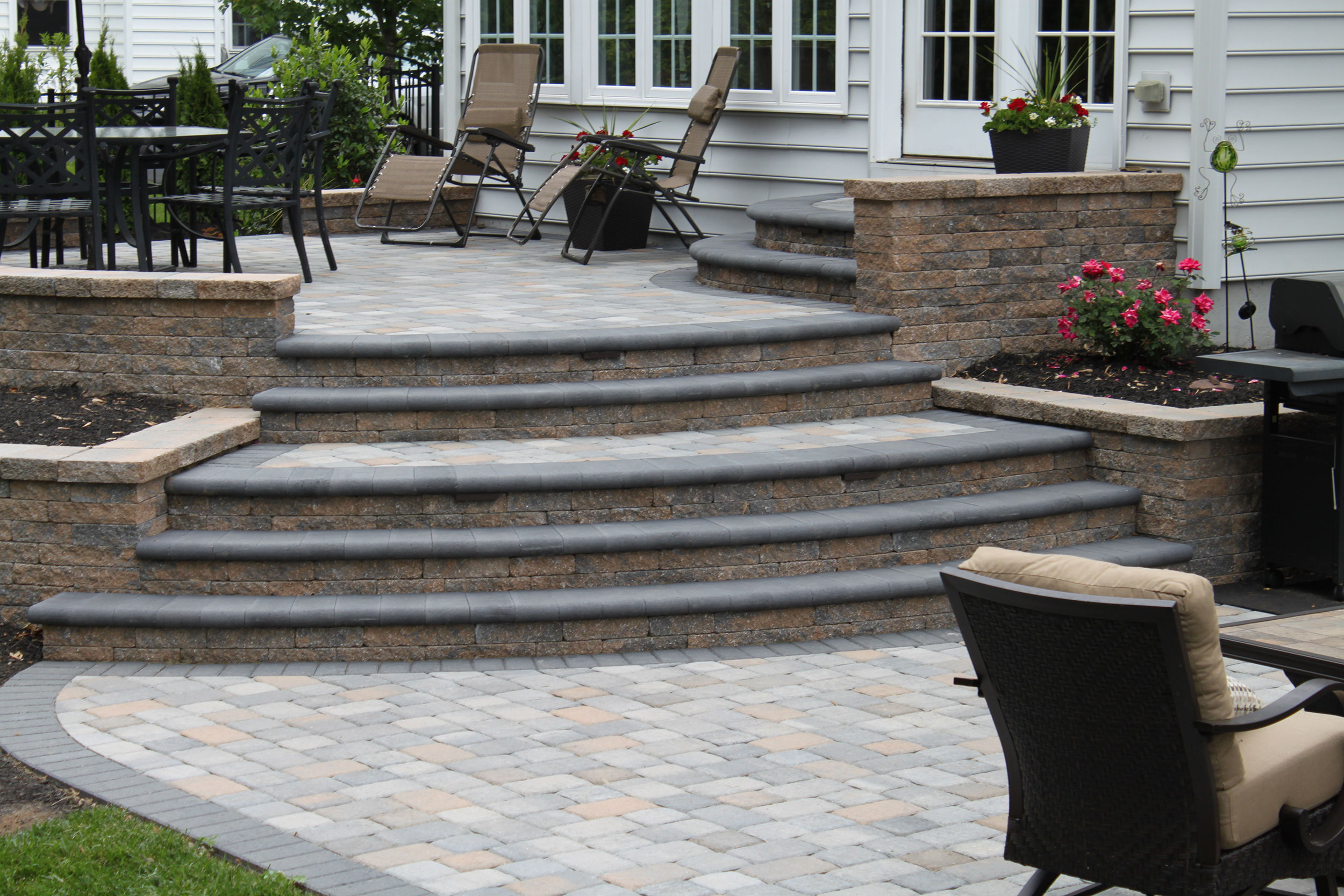 raised-patio-steps-walls by R & R Landscape Design